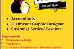 Required, Accountants, IT Office, Graphic designers, CS